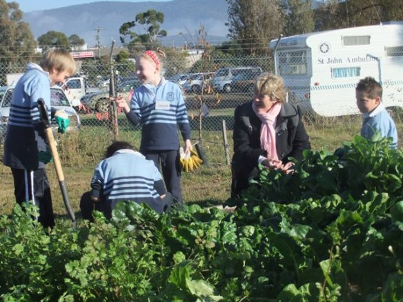 Tasting the produce with Nicholas Burdon, Zeke Dunning, Charlotte Murray and Jayden Grandovec