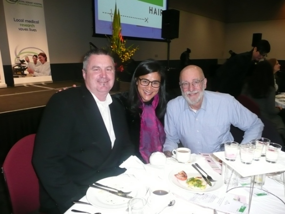 Kylie with Tasmanian fisherman, Mark Eather and Tony Scherer from Frogmore vineyard