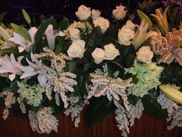 Dame Joan's favourite colours reflected in the floral arrangements
