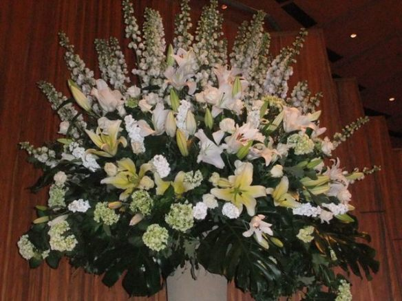 Spectacular floral arrangements decorated the stage