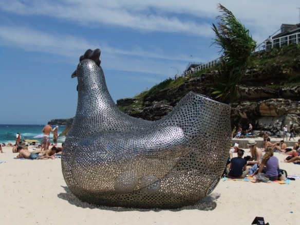 The great Bondi chook! Sitting Hen by South Korean sculptor Tae-Geun Yang
