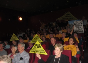 At the packed premier of Frack Man in Hobart