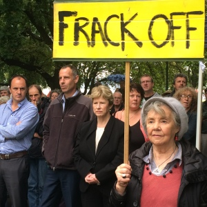 The sign says it all, Frack Off and ban fracking in Tasmania, and Australia